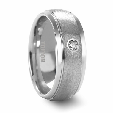 Triton 8mm Dual Finish Tungsten Carbide Diamond Ring