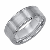 Triton 8mm Dual Finish Tungsten Carbide Ring with 18K White Gold Inlay