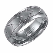 Triton 8mm Dual Finish Tungsten Carbide Ring with Chevron Patterns