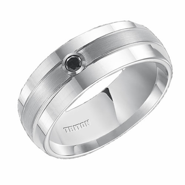 Triton 8mm Dual Finish White Tungsten Carbide Black Diamond Ring
