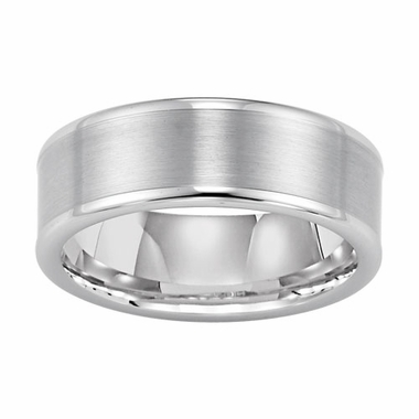 Triton 8mm Dual Finish White Tungsten Carbide Ring