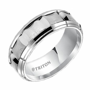 Triton 8mm Dual Finish White Tungsten Carbide Ring with Beveled Edges