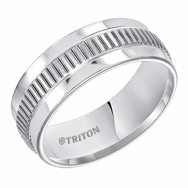 Triton 8mm Dual Finish White Tungsten Carbide Ring with Center Vertical Cuts