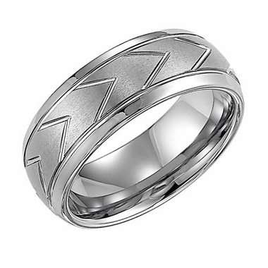 Triton 8mm Dual Finish White Tungsten Carbide Ring with Chevron Patterns