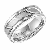 Triton 8mm Dual Finish White Tungsten Carbide Ring with Diagonal Grooves