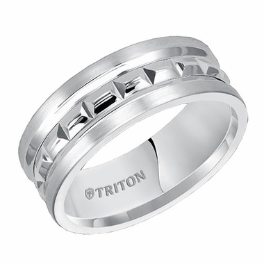 Triton 8mm Dual Finish White Tungsten Carbide Ring with Engraved Center