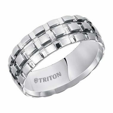 Triton 8mm Dual Finish White Tungsten Carbide Ring with Grooves