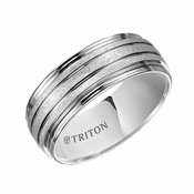 Triton 8mm Dual Finish White Tungsten Carbide Ring with Horizontal Cuts