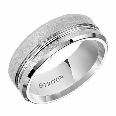 Triton 8mm Dual Finish White Tungsten Carbide Ring with Offset Groove