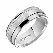 Triton 8mm Dual Finish White Tungsten Carbide Ring with Step Edges