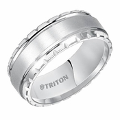 Triton 8mm Dual Finish White Tungsten Carbide Ring with Textured Edges