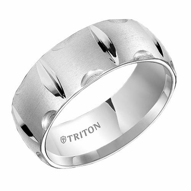 Triton 8mm Dual Finish White Tungsten Carbide Ring with Vertical Cuts
