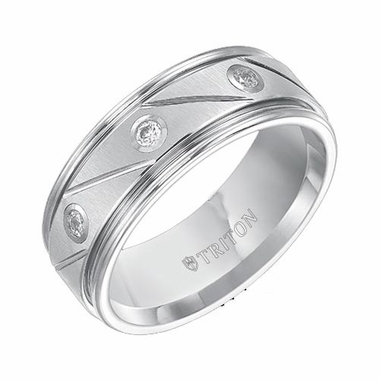 Triton 8mm Dual Finish White Tungsten Carbide Three Diamond Ring