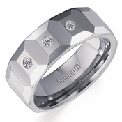 Triton 8mm Faceted Tungsten Carbide 3-Stone Diamonds Ring