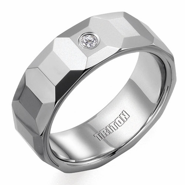 Triton 8mm Faceted Tungsten Carbide Diamond Ring