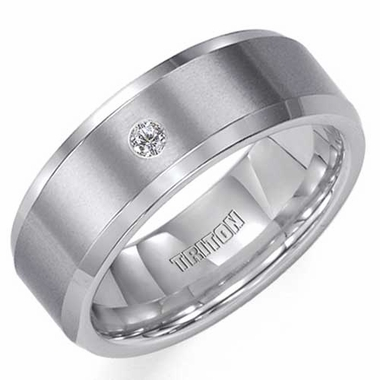 Triton 8mm Flat Tungsten Carbide Diamond Ring with Beveled Edges
