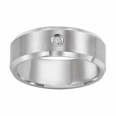 Triton 8mm Flat White Tungsten Carbide Diamond Ring