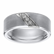 Triton 8mm Grey Tungsten Carbide 3 Diamonds Ring
