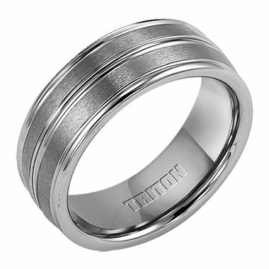 Triton 8mm Grey Tungsten Carbide Ring with Center Groove