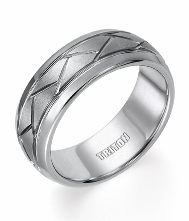 Triton 8mm Grey Tungsten Carbide Ring with Diagonal Grooves