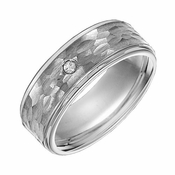 Triton 8mm Hammered Tungsten Carbide Diamond Ring