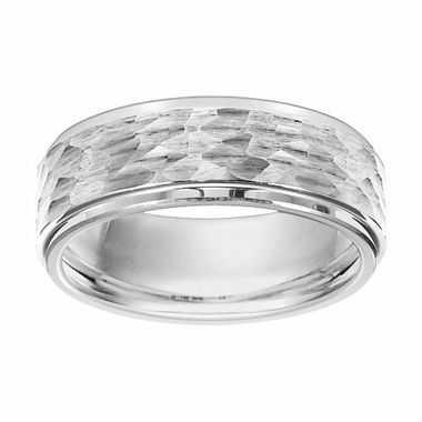 Triton 8mm Hammered White Tungsten Carbide Ring