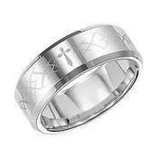 Triton 8mm Laser Engraved White Tungsten Carbide Ring with Beveled Edges