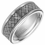 Triton 8mm Polished Cobalt Ring with Engraved Design