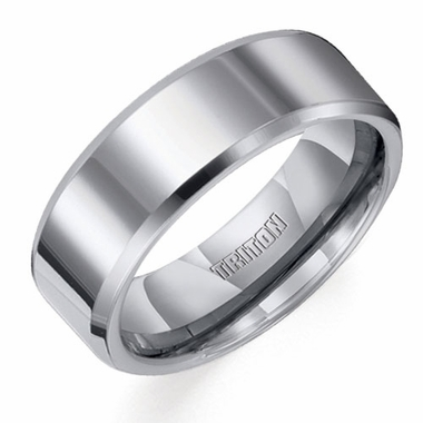 Triton 8mm Polished Tungsten Carbide Ring with Beveled Edges