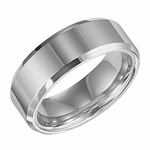 Triton 8mm Polished White Tungsten Carbide Ring with Beveled Edges