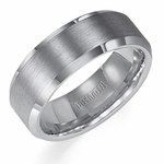 Triton 8mm Satin Tungsten Carbide Ring with Beveled Edges
