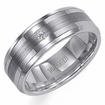 Triton 8mm Semi-Satin Tungsten Carbide Diamond Ring