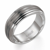 Triton 8mm Silver and Titanium Wedding Band