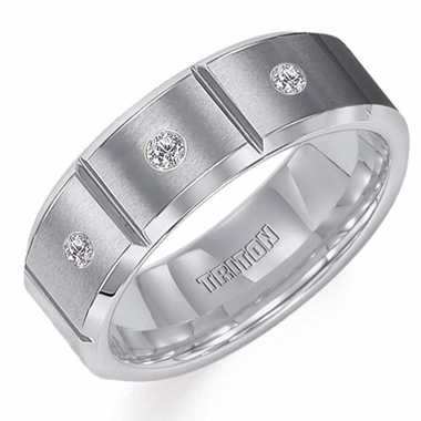 Triton 8mm Slotted Tungsten Carbide 3-Stone Diamonds Ring