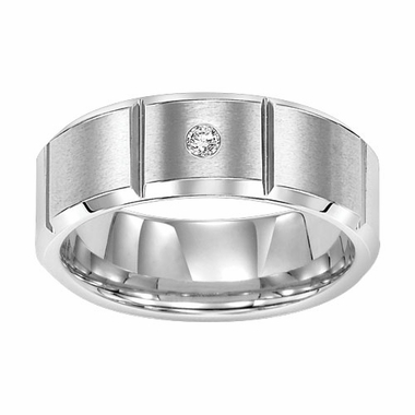 Triton 8mm Slotted White Tungsten Carbide Diamond Ring