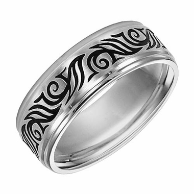 Triton 8mm Stainless Steel Ring with Black Engraving