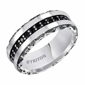 Triton 8mm Sterling Silver Ring with Black Sapphires and Oxidation
