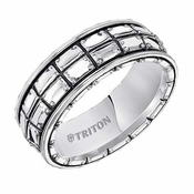Triton 8mm Sterling Silver Ring with Vertical Cuts