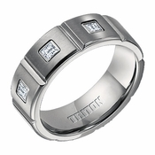 Triton 8mm Titanium Diamond Wedding Band with Vertical Slots