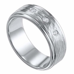Triton 8mm Tungsten Carbide 3 Diamond Ring