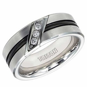 Triton 8mm Tungsten Carbide 3 Diamond Ring with Groove