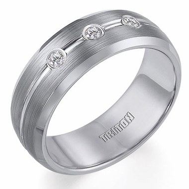 Triton 8mm Tungsten Carbide and 3-Stone Diamond Ring