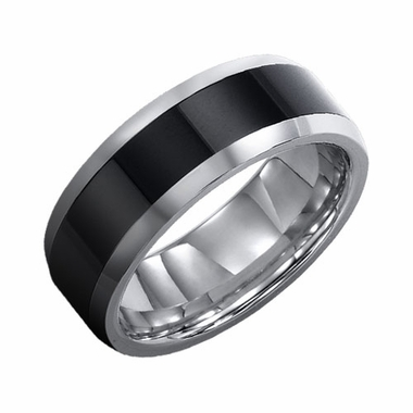 Triton 8mm Tungsten Carbide Band with Ceramic Inlay