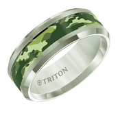 Triton 8mm Tungsten Carbide Band with Light Green Camouflage