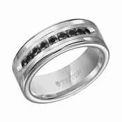 Triton 8mm Tungsten Carbide Black Diamond Ring with Silver Inlay (1/2 ctw)