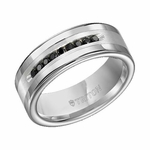 Triton 8mm Tungsten Carbide Black Diamond Ring with Silver Inlay (1/4 ctw)