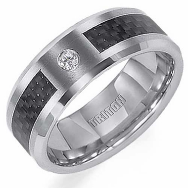 Triton 8mm Tungsten Carbide Diamond Ring with Carbon Fiber Inlay