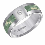 Triton 8mm Tungsten Carbide Diamond Ring with Green Camouflage