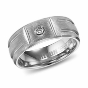 Triton 8mm Tungsten Carbide Diamond Ring with Grooves