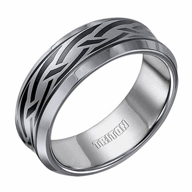 Triton 8mm Tungsten Carbide Ring with Black PVD Weave Design